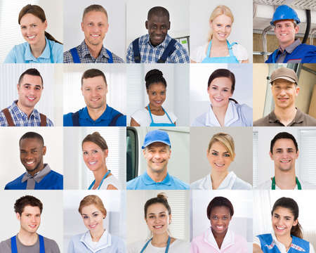 Collage Of Male And Female Workers Of Different Profession With Diverse Multi-ethnicity