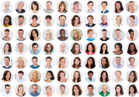 Foto de Collage Of Smiling Multiethnic People Portraits And Faces - Imagen libre de derechos