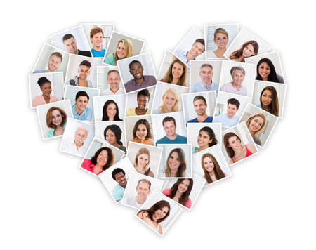 Foto de Group Of Different Multiethnic People In A Heart Shape - Imagen libre de derechos
