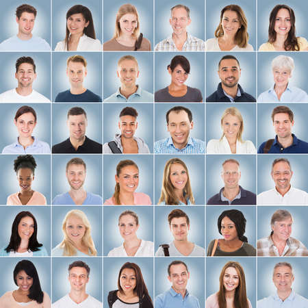 Casual Of Diverse Multi-ethnic And Mixed Age Smiling Casual People On Blue Background