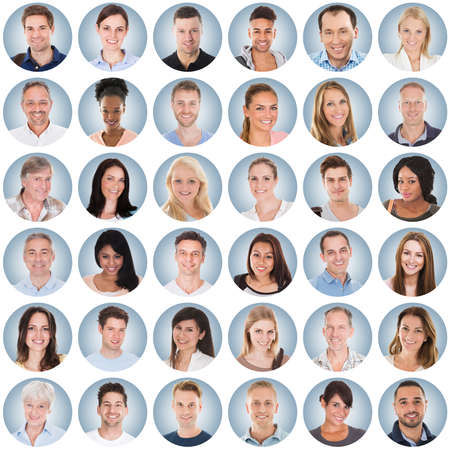 Collage Of Diverse Multi-ethnic And Mixed Age Smiling People Group On Blue Background