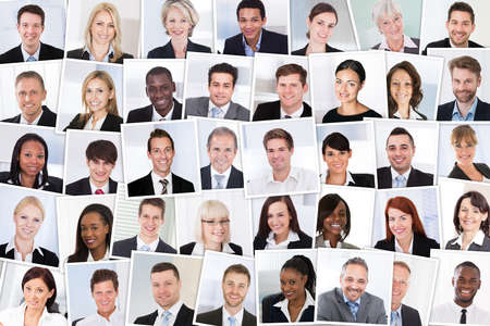 Photo pour Collage Of Smiling Multiethnic Business People Group - image libre de droit