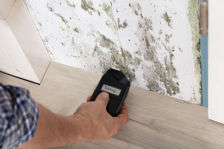 Photo pour Person Hand Measuring The Wetness Off A Moldy Wall - image libre de droit