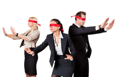 Photo pour Business People In Blindfolds Against White Background - image libre de droit