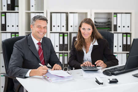 Photo for Portrait Of Smiling Accountant Calculating Taxes In Office - Royalty Free Image