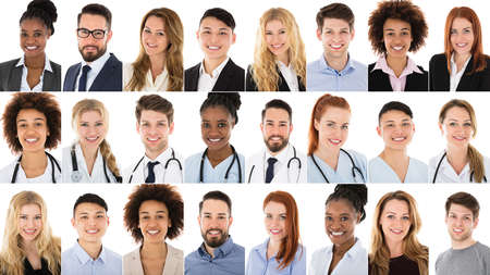 Collage Photo Of Multi-ethnic Businesspeople And Doctors