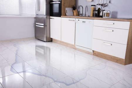 Foto de Close-up Photo Of Flooded Floor In Kitchen From Water Leak - Imagen libre de derechos