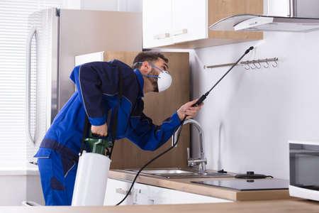 Foto de Pest Control Worker In Uniform Spraying Pesticide With Sprayer In Kitchen - Imagen libre de derechos