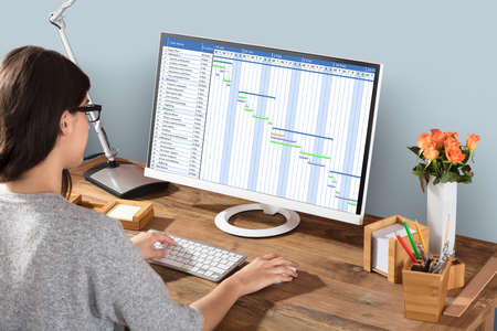 Foto de Young Woman Working On Gantt Chart Using Computer At Workplace - Imagen libre de derechos