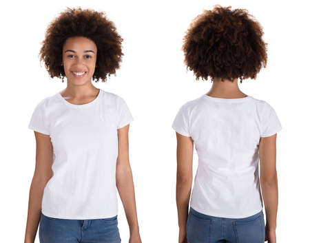 Foto de Portrait Of A Happy Young Woman Standing On White Background - Imagen libre de derechos