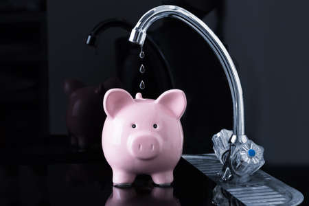 Photo pour Dripping Water Droplets Are Falling In The Pink Piggybank From Kitchen Sink Faucet - image libre de droit