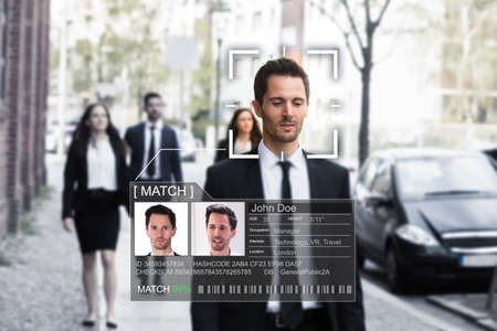 Photo pour Portrait Of A Young Businessman's Face Recognized Accurately With Intellectual Learning System - image libre de droit