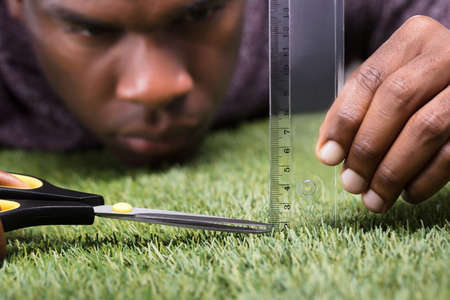 Photo pour Close-up Of A Man Cutting Green Grass Measured With Ruler - image libre de droit