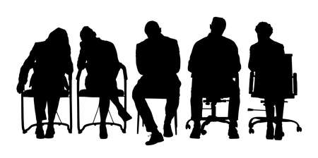 Illustrazione per Group Of Businesspeople Sitting On Chair Over White Background - Immagini Royalty Free