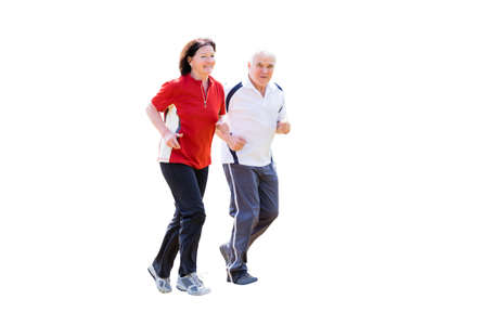 Photo pour Portrait Of A Smiling Senior Couple Jogging On White Background - image libre de droit
