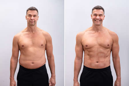 Foto de Portrait Of A Mature Man Before And After Weight Loss On White Background. Body shape was altered during retouching - Imagen libre de derechos