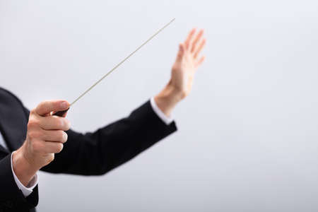 Foto de Close-up Of A Music Conductor Hands Holding Baton Against Gray Background - Imagen libre de derechos