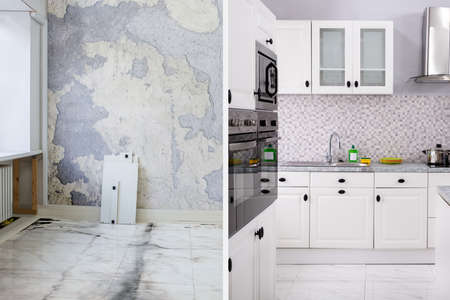 Photo for Before And After Of Modern Kitchen Apartment Room In Renovated House - Royalty Free Image