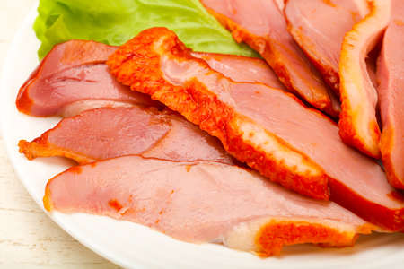 Photo for Sliced duck breast with skin - Royalty Free Image