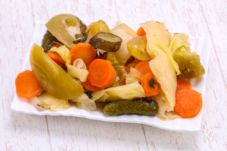 Photo for Pickled vegetables mix in the bowl - Royalty Free Image
