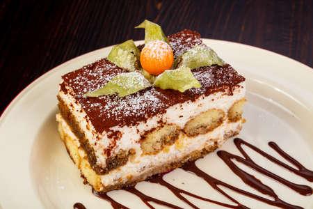 Photo for Famous Tiramisu cake served chokolate - Royalty Free Image