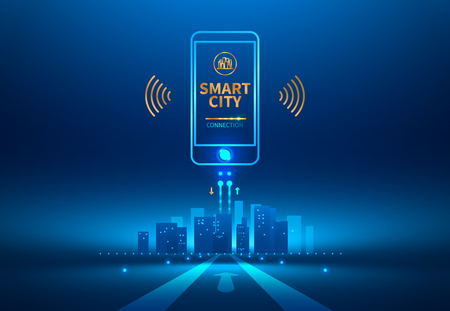 Illustration pour Smart city wireless communication with smart phone. Future concept. Vector illustration. - image libre de droit