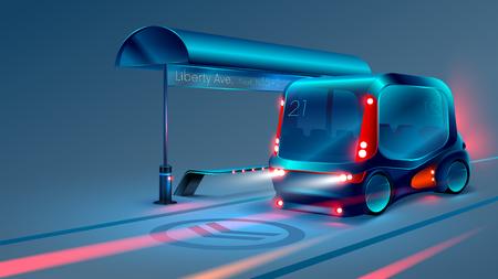 Illustration pour Autonomous electric smart bus or minibus stops at city bus stop. VECTOR - image libre de droit