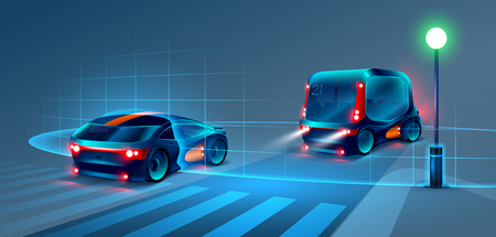 Illustration pour Autonomous smart bus and car rides through the night city. Smart bus scans the road and goes without a driver. Smart bus recognize road signs, lane markings and pedestrians at the crosswalk. VECTOR - image libre de droit