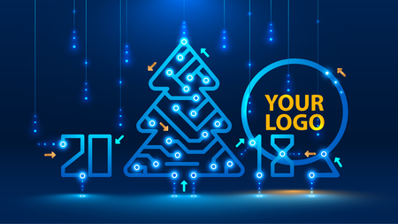 Illustration pour Template new year and Christmas cards in the style of new technologies. Christmas tree, 2018 year on the printed circuit Board. Snowfall and snow flakes from the electronic pulses and signals. VECTOR - image libre de droit