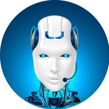 Ilustración de Technical support icon. Chat bot web assistance. Robot in headphone. Front view - Imagen libre de derechos