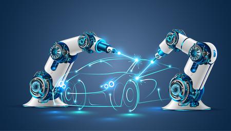 Illustration pour Robot welder in automobile industry vector concept - image libre de droit