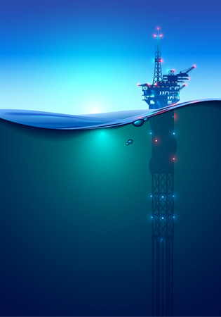 Ilustración de Oil offshore Drilling Platform in the ocean at dawn. Beautiful background for oil industry. Oil rig in the light of lanterns and spotlights. Split view over and under water surface. Classic spar. - Imagen libre de derechos