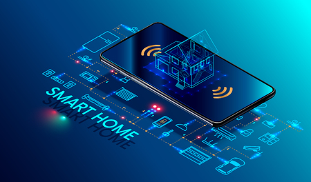 Ilustración de Smart home controlled smartphone. Internet of things technology of home automation system. Small house standing on screen mobile phone and wireless connections with icons home electronics devices. iot - Imagen libre de derechos