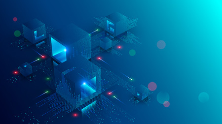 Illustration pour Blockchain concept banner. Isometric digital blocks connection with each other and shapes crypto chain. Blocks or cubes, connection consists digits. Abstract technology background. - image libre de droit