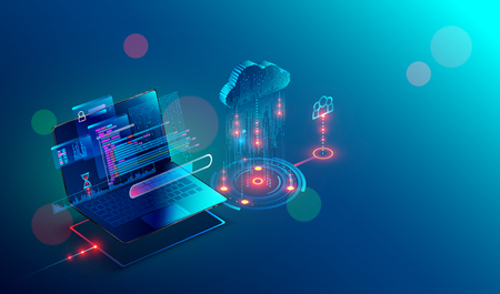 Illustration for laptop connection on cloud storage for collaboration work with remote team. Cooperation work via internet and work with project in shared access. Isometric infographic concept. - Royalty Free Image
