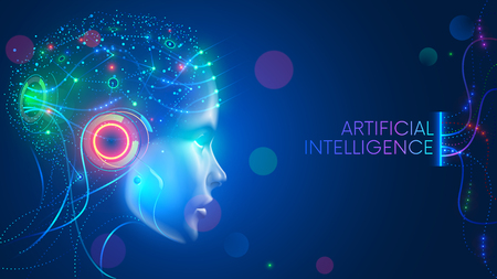 Illustration pour Artificial intelligence in humanoid head with neural network thinks. AI with Digital Brain is learning processing big data, analysis information. Face of cyber mind. Technology background concept. - image libre de droit