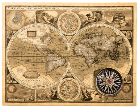 Photo for Old map (1626). �A new and accvrat map of the world� - Royalty Free Image