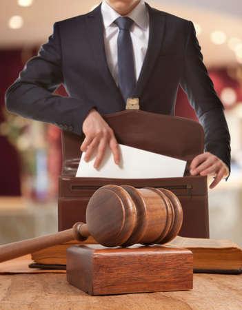 Foto de Caucasian lawyer in court.  Law concept - Imagen libre de derechos