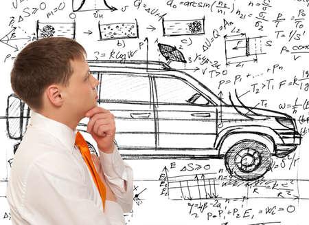 Foto de Car designer inventor. Photo compilation, photo and hand-drawing elements combined - Imagen libre de derechos