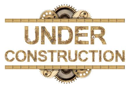 Photo pour Under construction. Steampunk mechanical metal alphabet - image libre de droit