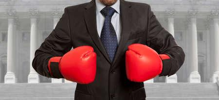 Photo pour Legal concept. The lawyer in red boxing gloves - image libre de droit