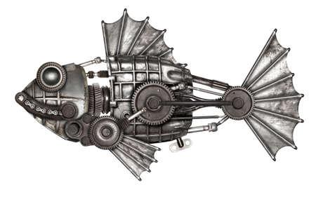 Photo pour Steampunk style fish, european perch (Perca fluviatilis). Mechanical animal photo compilation - image libre de droit