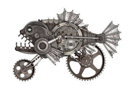 Photo pour Steampunk style piranha. Mechanical animal photo compilation - image libre de droit