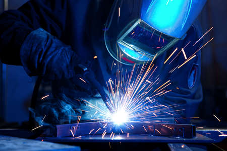 Photo for Welder erecting technical steel. Industrial steel welder in factory technical - Royalty Free Image