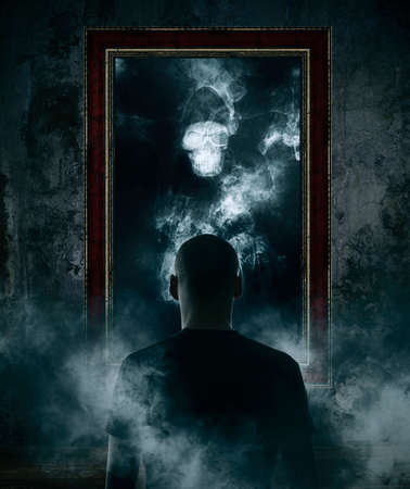 Foto de Mirror. Terrible ghost on dark smoke background - Imagen libre de derechos
