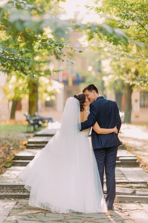 Photo for The vertical view of the kissing newlywed couple while walking in the park. - Royalty Free Image