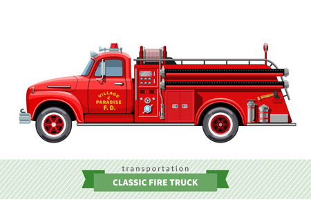 Illustration for Classic medium duty fire truck side view. - Royalty Free Image