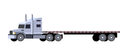 Illustration pour Minimalistic icon flatbed trailer tractor front side view. Semi trailer vehicle. Vector isolated illustration. - image libre de droit