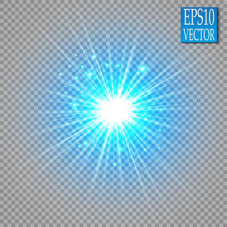 Illustration for Glow light effect. Star burst with sparkles. Golden glowing lights - Royalty Free Image