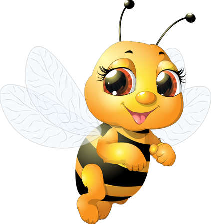 Ilustración de beautiful bee which narisovana on white background - Imagen libre de derechos